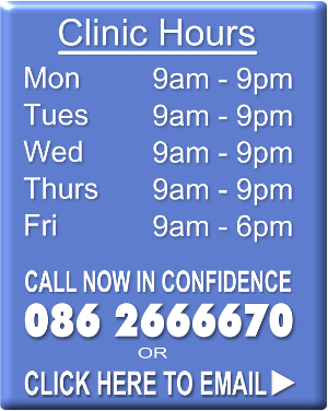 Cork Weight Loss Clinic hours are 9am to 9pm Monday to Thursday and 9am to 6pm Friday